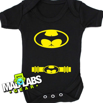 bat signal buttman butt man sexy lady man gotham bruce wayne ass man comic book cute funny baby one piece  jumper Bodysuit Creeper Dirty B-3