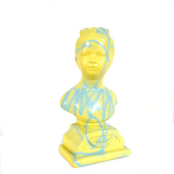 bust statue, graffiti, art object, street art, yellow, turquoise, victorian, punk, home decor, funky, head bust, spray paint, 80s