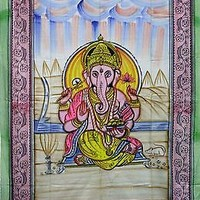 GANESH Ganesha Indian LOTUS Elephant Hippie Wall Hanging TAPESTRY Bedspread