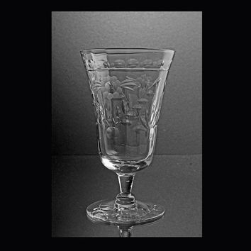 Etched Crystal Sherry Cordial Glass Vintage