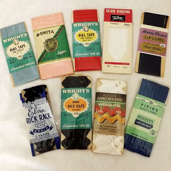 Vintage Sewing Notions - Trims - binding, braid, rick rack, piping