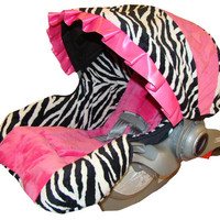 Infant Car Seat Replacement Cover for Graco Snugride  22 and Graco Snugride 32 - Padded Baby Carseat Cover - Zebra Minky with Hot Pink Minky