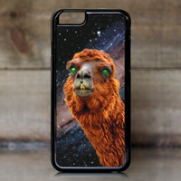Llama Encounters a Green Nebula Case for Apple iPhone 6