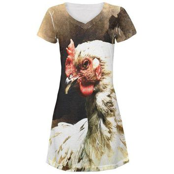 LMFCY8 Queen Of The Barnyard Chicken All Over Juniors Beach Cover-Up Dress
