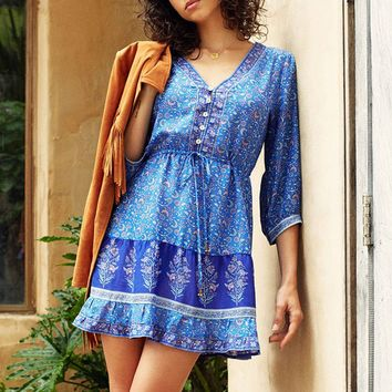 V-Neck 3/4 Sleeve Dress Floral Print Dresses Boho Hippie Beach Dresses Women Chic Bohemian Vestidos