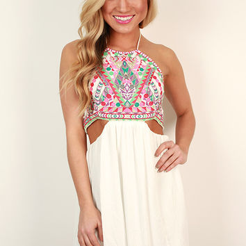 Sea Breeze Open Back Dress in White