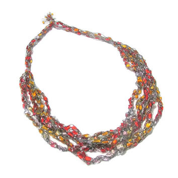 Beautiful Autumn Fire Colored Ladder Necklace - Shimmer with Silver
