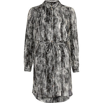 River Island Womens Black printed long sleeve shirt dress