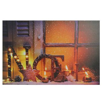 "LED Lighted Noel and Flickering Candles Christmas Canvas Wall Art 23.5"" x 15.75"""