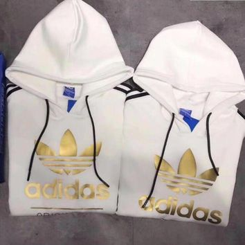 "Women Couple ""Adidas"" Print Hoodie Sweatshirt Tops Sweater Pullover White G"