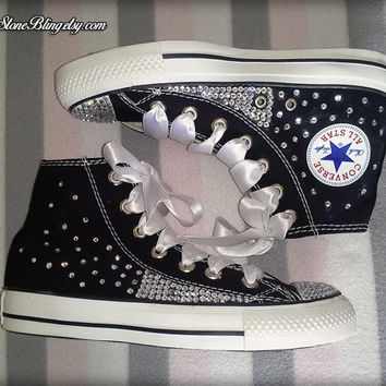 High Top Black Bling Converse   Swarovski   Handmade af5a39a1cf8c