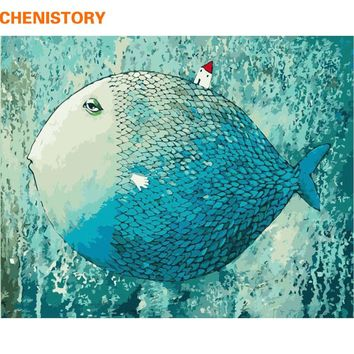 CHENISTORY Blue Fish DIY Digital Painting By Numbers With Abstract Home Decor 40x50 Kits Coloring Paint By Numbers For Kids Gift