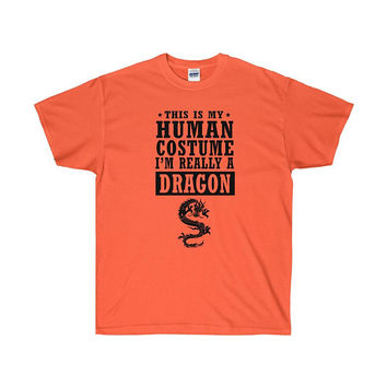 Dragon Halloween Costume T-shirt Oriental This Is My Halloween Costume I'm Really A Dragon Shirt Costume Party Tee Tshirt