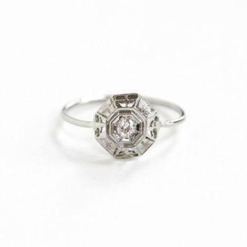 DCCK1IN antique art deco 18k white gold diamond ring 1920s fine vintage stick pin conversion