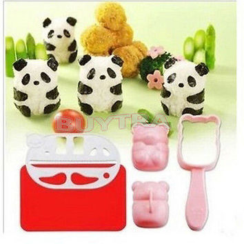 SK BENTO Accessories Rice Ball Mold Mould With Nori Punch Sushi PANDA Shape US 1