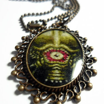 Super Metroid Necklace PHANTOON pendant on brass ball chain - 18 inches free size adjustments - video game jewelry - SNES