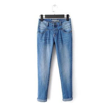 Summer Classics Rinsed Denim Stretch Slim Jeans Cropped Pants [8173401991]