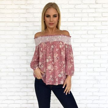 Ray of Sunshine Floral Blouse in Mauve