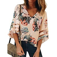 Painted Sunrise Vintage Floral Print Blouse