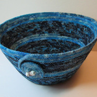 Handmade Coiled Fabric Basket/Bowl, blue