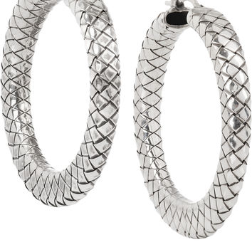 Bottega Veneta - Oxidized sterling silver hoop earrings
