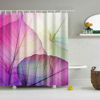 Abstract Leaves Design Polyester Bathroom Shower Curtain & Hooks