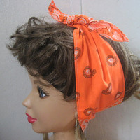 Hair Bandana, Boho Head Bandana, Wide Turban HeadBand, Neon Orange, Bandana Print, Hair Band, Hippie, RockaBilly HairBand, Teens Women #257