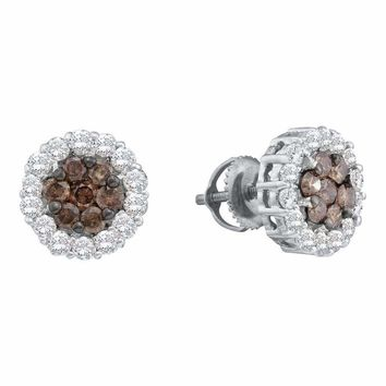 14kt White Gold Women's Round Color Enhanced Brown Diamond Flower Cluster Earrings 1-1-2 Cttw - FREE Shipping (US/CAN)