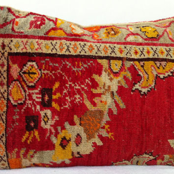 Floral Red Hand Woven Turkish Ushak Rug Pillow - Modern Bohemian Home Decor - Decorative Pillow, Rug  Pillow  23 x 16 Inch - FAST SHIPMENT