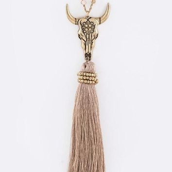 Skull & Fringe Long Necklace