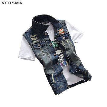 VERSMA Mens Denim Vest Men Colete Masculino Denim Vests Men Sleeveless Jacket Motorcycle Vest Mens Waistcoats Vests & Waistcoats