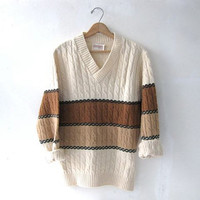STOREWIDE SALE. 70s sweater. brown ombre sweater. cable knit sweater.