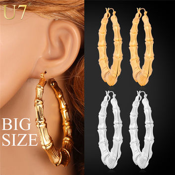 U7 Big Bamboo Hoop Earrings Gold Plated Fashion Jewelry Trendy Basketball Wives Circle Round Earrings For Women E451