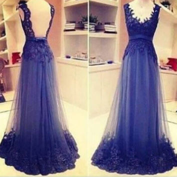 Backless Royal Blue Prom Dress