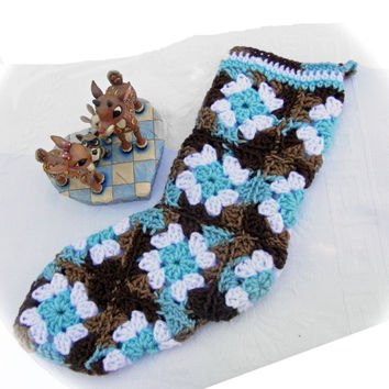 "Granny Square Stocking Christmas Stocking Hand Crocheted in Turquoise Teal. White and Chocolate Brown (""The Sandlapper"")"