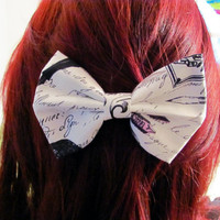 Script Hair Bow • Raven Hair Bow • Edgar Allen Poe • White and Black Bow • Women's Fashion • Gifts For Women • Cotton Hairbow • Cursive Bow