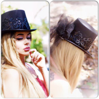 Black gypsy rose Top Hat, Stevie Nicks hat, True rebel clothing