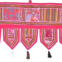 "38x14"" Vintage Indian temple door frame valance tribal textile Decorative gypsy bohemian Door Valance topper tapestry window hanging toran"