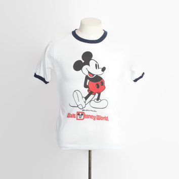 62de7c875 Vintage 70s MICKEY MOUSE T-Shirt / 1970s Walt Disney World Ringe