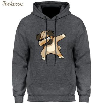 Dabbing Pug Hoodie Men Funny Cartoon Hoodies Mens Hooded Sweatshirt 2018 Newest Hipster Black Grey Hip Hop Harajuku Streetwear