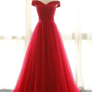 Elegant Red A-line Tulle Long Backless Prom Dresses