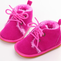 Faux Fur Oxfords-Hot Pink