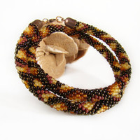 Snake necklace Crochet bead rope Brown beaded necklace Snakeskin necklace Wild print Snake animal skin Christmas gift Beadwork Jewelry