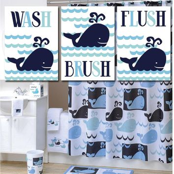 WHALE BATHROOM Wall Art, Canvas or Prints, Whale Watch, Happy Whale Bath Art, Wash Brush Flush, Kid Nautical Bathroom, Child Bath, Set of 3