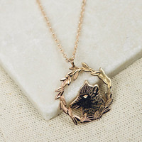 Wolf Necklace - Woody the Wolf, Gold Plated Necklace | Animal Necklace | Gold Long Pendant | Rose Gold Necklace | Engraved necklace