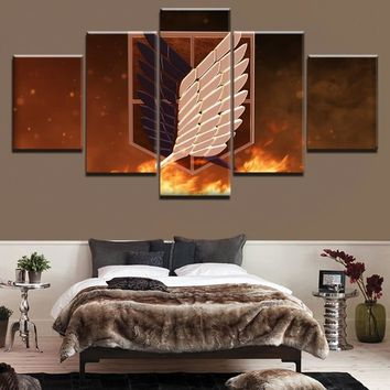 Cool Attack on Titan Canvas Modern Wall Art Print Home Decor Pictures Frame 5 Piece  Anime Wings Of dom Painting Anime Poster AT_90_11