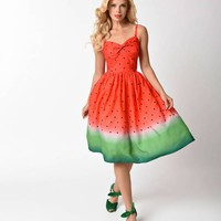 Unique Vintage 1950s Style Watermelon Ombre Chateau Swing Dress
