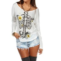 SALE-White Daisy Skeleton Screen Tee