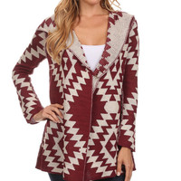 Red Southwest Wool-Blend Hooded Toggle Cardigan
