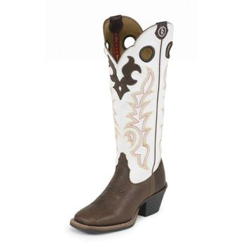 Tony Lama 3R Western Ladies' 16 in. Boot, Beige Mustang Buckaroo
